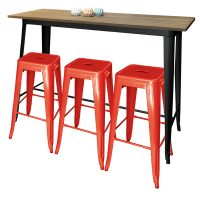 Tolix Bar Table Rectangle with Tolix Bar Stool Red
