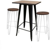 Tolix Bar Table Square with Hairpin Stool White