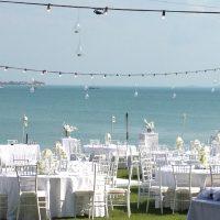 wedding tables by beach