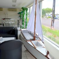 seafood server sailing boat