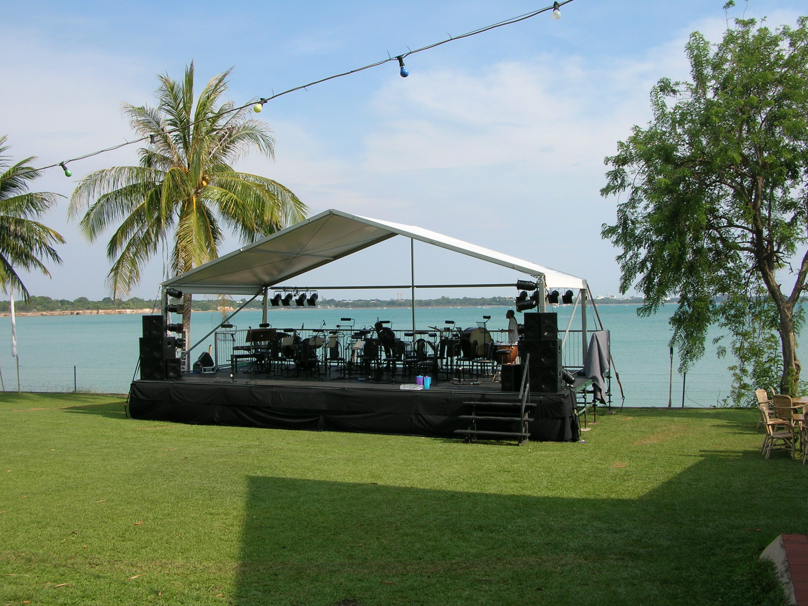 stage on beach